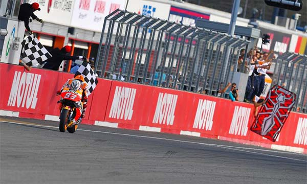 Detik-detik Marc Marquez lintasi garis finish