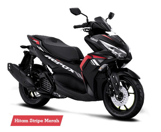Warna Aerox 155 Connected STD Hitam Stripe Merah